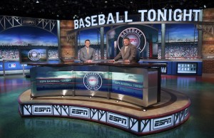 Baseball Tonight host Karl Ravech (L) and analyst John Kruk on the set. (Phil Ellsworth/ESPN Images).