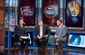 (L-R) Karl Ravech, John Kruk and Barry Larkin (Joe Faraoni/ESPN Images)