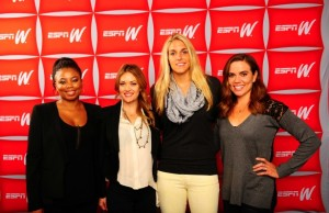(L-R) ESPN.com columnist and Numbers Never Lie co-host Jemele Hill,   US Paralympic Team snowboarder Amy Purdy, WNBA star Elena Delle Donne and Olympic swimmer Natalie Coughlin. (Kohjiro Kinno/ESPN Images)