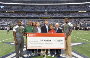 Executive Vice President, Administration, Ed Durso, (second from right) helps present USA Football with a check for $175,000 on behalf of ESPN.  From L-R: Dariet McDuff (Madison HS player); Jabari Moore (Madison HS coach); Tavia Fisher (ESPN, Sr. Manager, Corporate Outreach); Garrett Shea (Sr. Director, USA Football); Scott Hallenbeck (Executive Director, USA Football); Angela Woods (ESPN, Director, Corporate Outreach); Durso; Devontay Wheatley (Madison HS player). (Scott Clarke/ESPN Images)