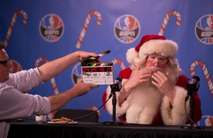 Santa addresses the media in an ESPN NBA spot. (Ben Solomon/ESPN Images)