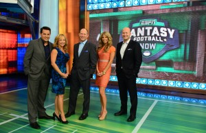 (L to R) Robert Flores, Stephania Bell, Matthew Berry, Sara Walsh and Tim Hasselbeck. (Joe Faraoni/ESPN Images)