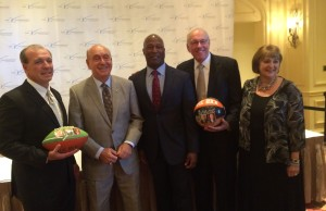 Honorees Jimbo Fisher (l), Lovie Smith (center) and Jim Boeheim join Dick Vitale and V Foundation CEO Susan Braun for a pre-Gala photo. (Josh Krulewitz/ESPN)