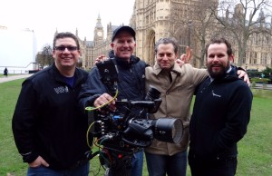 (L-R) Kris Schwartz, cameraman Bill Roach, Jeremy Schaap and Ted Jackson in London in front of Parliament. (Kris Schwartz/ESPN)