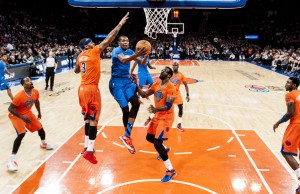 Kevin Durant of the Oklahoma City Thunder during a regular season game. (Ben Solomon/ESPN Images)