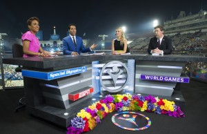 Robin Roberts, Kevin Negandhi, Lindsay Czarniak and Dustin Plunkett at the Opening Ceremony for the 2015 Special Olympics World Summer Games. (Phil Ellsworth/ESPN Images)