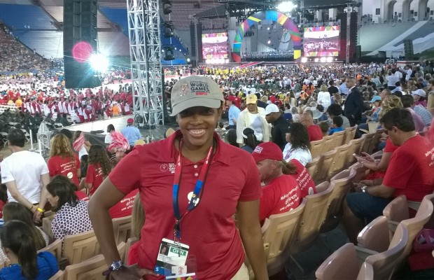 Raven Davis, Facilities Development and Planning intern, at the Special Olympics World Games Opening Ceremony. (Photo courtesy Raven Davis)
