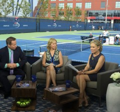 Tennis commentator Patrick McEnroe, analyst Chris Evert and SportsCenter anchor Chris McKendry on site at the US Open. (Dave Nagle/ESPN)