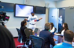 "Yasiel Puig filming a ""This is SportsCenter"" campaign. (Eddie Perlas/ESPN Images)"