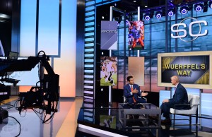 Kevin Negandhi and Danny Wuerffel on the set of SportsCenter. (Joe Faraoni/ESPN Images)