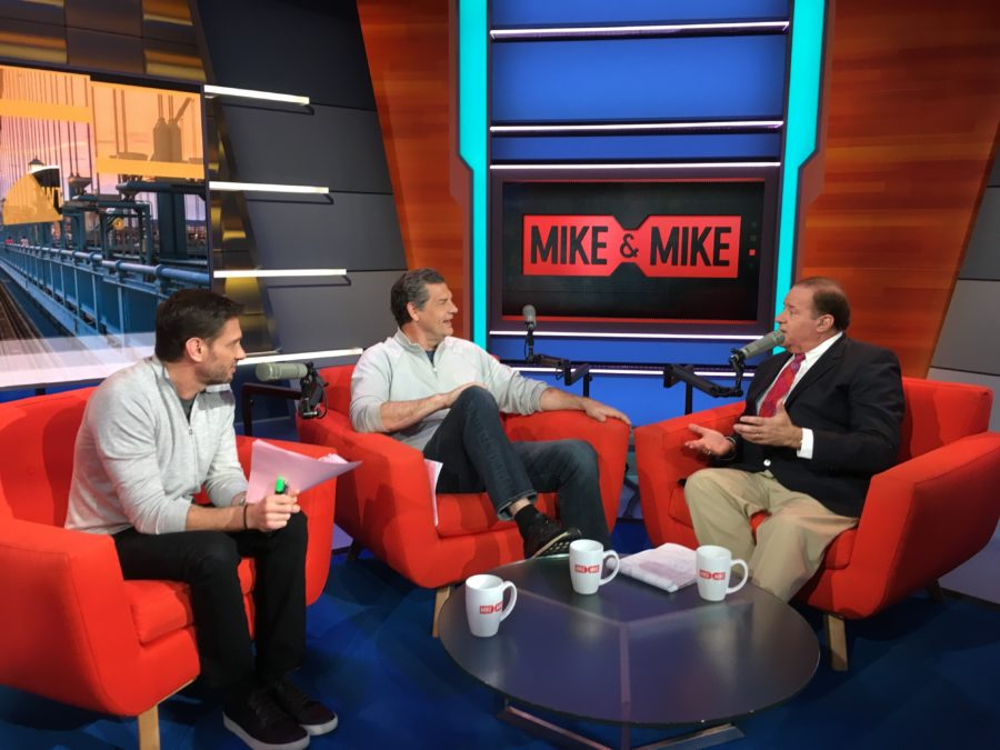 Mike Greenberg (L) and Mike Golic welcomed Chris Berman (R) to Mike & Mike this morning. (Josh Krulewitz/ESPN)