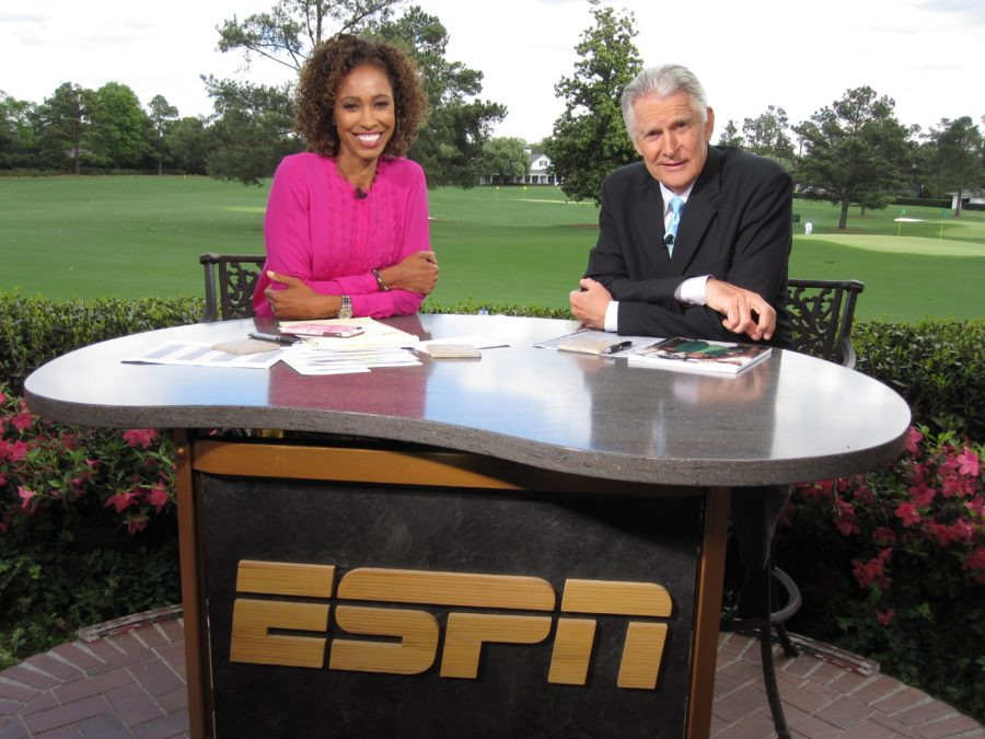 ESPN golf analyst Andy North on the SportsCenter set at the Masters with anchor Sage Steele. (Andy Hall/ESPN)